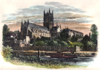 ANTIQUE PRINT: WORCESTER CATHEDRAL, FROM THE RIVER.