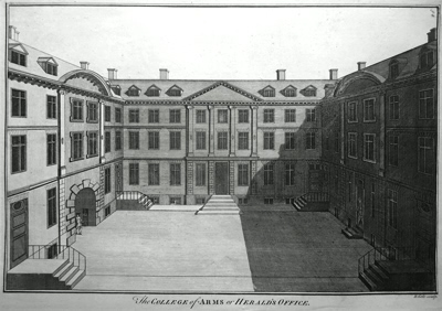 ANTIQUE PRINT: THE COLLEGE OF ARMS OR HERALD'S OFFICE.