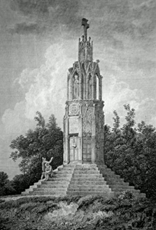 ANTIQUE PRINT: THE QUEENS CROSS NEAR NORTHAMPTON. NORTHAMPTONSHIRE.