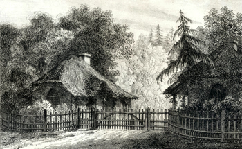 ANTIQUE PRINT: LODGE OR COTTAGE ENTRANCE TO ST. JOHN'S.