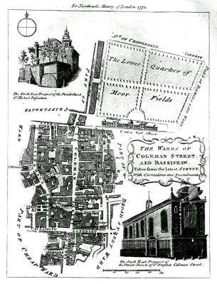 ANTIQUE PRINT: THE WARDS OF COLEMAN STREET, AND BASSISHAW, TAKEN FROM THE LATEST SURVEY, WITH CORRECTIONS AND AMENDMENTS.