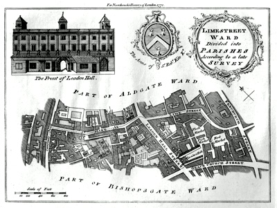 Antique Map of Lime Street Ward