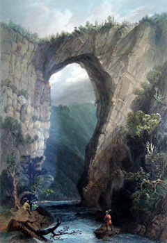ANTIQUE PRINT: NATURAL BRIDGE, VIRGINIA.