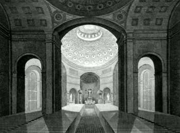 ANTIQUE PRINT: INTERIOR OF THE CATHOLIC CATHEDRAL, BALTIMORE.