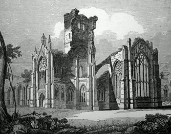 ANTIQUE PRINT: 148. SOUTH-EAST VIEW OF MELROSE ABBEY.