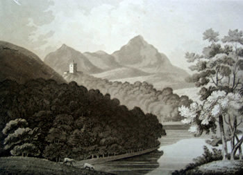 ANTIQUE PRINT: BREDDYN MOUNTAINS FROM POWIS CASTLE GROUNDS.