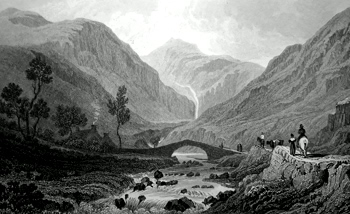 ANTIQUE PRINT: VIEW NEAR ABER. CAERNARVONSHIRE.