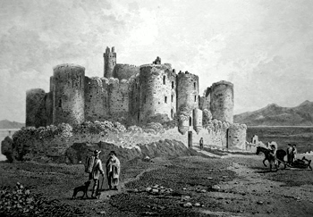 ANTIQUE PRINT: HARLECH CASTLE. MERIONETHSHIRE.