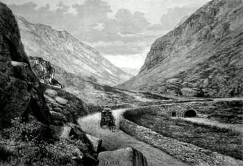 ANTIQUE PRINT: PASS OF LLANBERIS.
