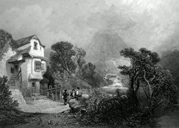 ANTIQUE PRINT: A MILL ON THE LLANBERRIS, SIDE OF SNOWDON.