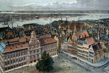 ANTIQUE PRINT: ANTWERP – THE TOWN-HALL AND THE SCHELDE.