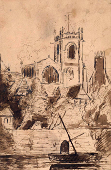 ANTIQUE PRINT: [YORK] SKETCH OF THE WEST END OF ST. MARTIN'S CHURCH CONEY STREET – NEAR THE OUSE & THE HOUSE WITH CHIMNEYS IN CORNER IS THAT IN WHICH W. ETTY R A DIED.