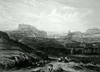 ANTIQUE PRINT: EDINBURGH. (FROM NEAR ST. ANTHONY'S CHAPEL).