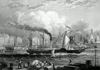 ANTIQUE PRINT: DUNDEE HARBOUR.