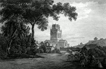 Antique print of Pontefract, Yorkshire