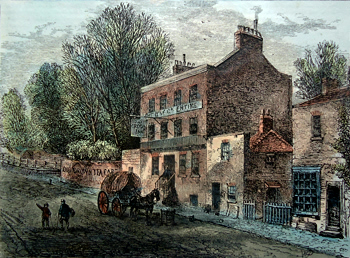 Antique print of Highgate, North London