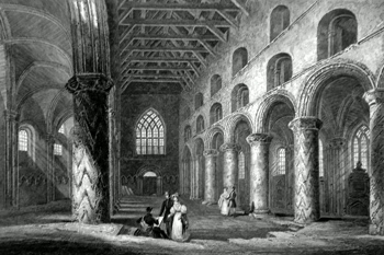 ANTIQUE PRINT: INTERIOR OF DUNFERMLINE ABBEY.