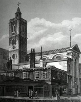 ANTIQUE PRINT: ST. DIONIS. BACKCHURCH, FENCHURCH STREET.