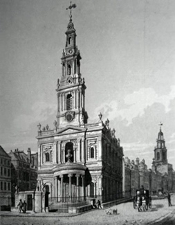 ANTIQUE PRINT: ST. MARY LE STRAND.