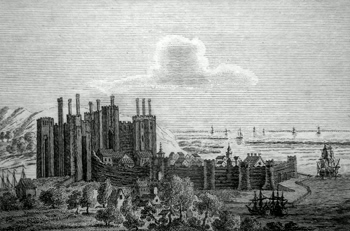 ANTIQUE PRINT: CAERNARVON CASTLE.