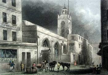 ANTIQUE PRINT: CRIPPLEGATE CHURCH.