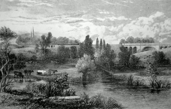 ANTIQUE PRINT: THE SHERBORNE VIADUCT, NEAR COVENTRY, AND BRIDGE OVER THE HOLYHEAD ROAD.