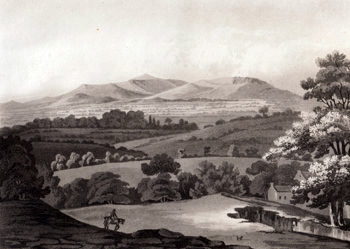 ANTIQUE PRINT: CLWYDDIAN HILLS FROM NEWMARKET.