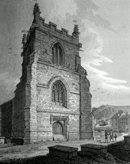 ANTIQUE PRINT: THE TOWER, BANGOR CATHEDRAL.