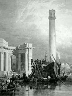 ANTIQUE PRINT: PART OF WATERLOO BRIDGE WITH THE SHOT TOWER. &C.