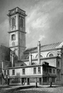 ANTIQUE PRINT: ST. DIONIS – BACKCHURCH, FENCHURCH STREET.