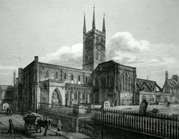 Antique print of Southwark Cathedral