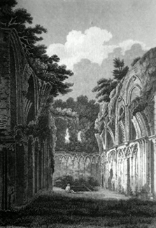 ANTIQUE PRINT: RUINS OF ST. JOSEPH'S CHAPEL, (IN GLASTONBURY ABBEY;) SOMERSETSHIRE.