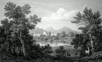 ANTIQUE PRINT: WELCH POOL. FROM THE PARK OF POWIS CASTLE, MONTGOMERYSHIRE.