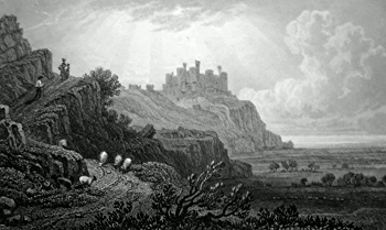 ANTIQUE PRINT: HARLECH CASTLE. FROM THE TREMADOC ROAD. MERIONETHSHIRE.