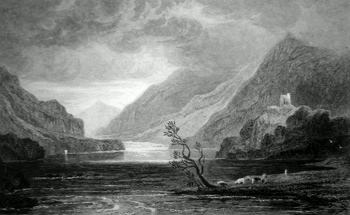 ANTIQUE PRINT: LLANBERIS LAKE, CAERNARVONSHIRE.