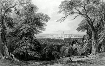 ANTIQUE PRINT: WINDSOR CASTLE FROM BISHOPSGATE. SURREY SIDE OF THE GREAT PARK.