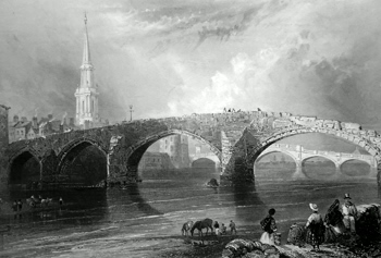 ANTIQUE PRINT: THE TWA BRIGS, AYR. OR THE OLD AND NEW BRIDGE. (AYRSHIRE.)