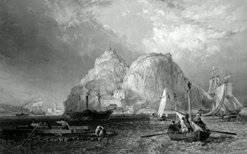 ANTIQUE PRINT: DUMBARTON CASTLE ON THE CLYDE. (DUMBARTONSHIRE).