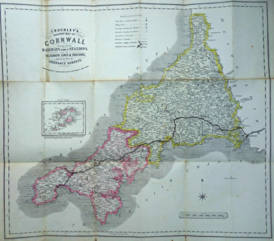 Antique map of Cornwall