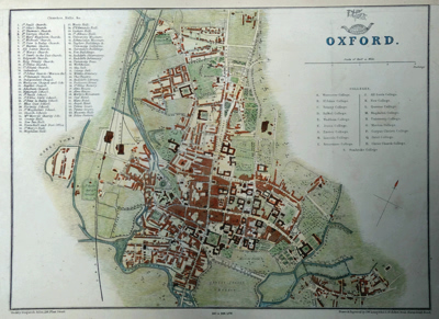 ANTIQUE MAP: OXFORD.