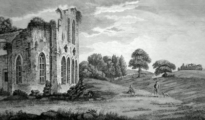 ANTIQUE PRINT: VIEW OF LEASOWES NEAR HALES-OWEN IN SHROPSHIRE, INCLUDING THE PRIORY & SEAT OF THE LATE WILL.M SHENSTONE ESQR.