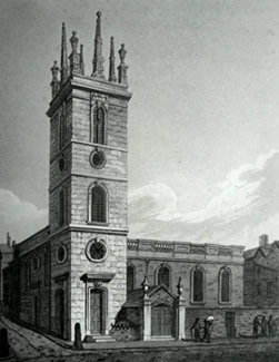 ANTIQUE PRINT: ST. MARY SOMERSET. UNITED WITH ST. MARY MOUNTHAW.
