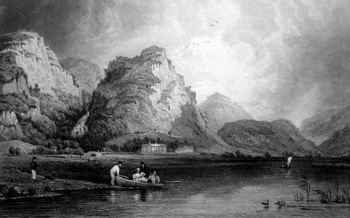 ANTIQUE PRINT: DERWENT WATER, & LOWDORE, CUMBERLAND.