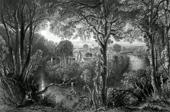 ANTIQUE PRINT: THE BANKS OF DOON.