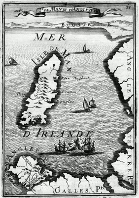 ANTIQUE MAP: IS DE MAN ET D'ANGLESEY.