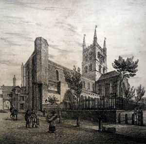 ANTIQUE PRINT: ST. SAVIOUR'S CHURCH : S-W. IN SOUTHWARK.