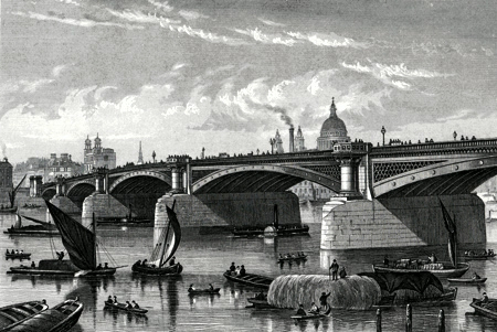 Antique print of Blackfriars Bridge