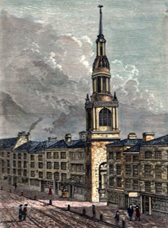 ANTIQUE PRINT: BOW CHURCH, CHEAPSIDE. (FROM A VIEW TAKEN ABOUT 1750.)
