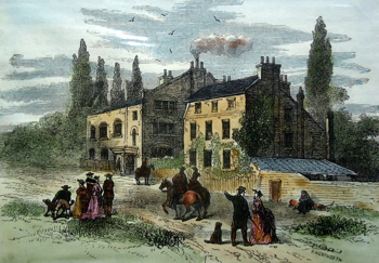 ANTIQUE PRINT: HORNSEY WOOD HOUSE, 1800.
