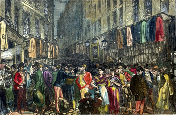 ANTIQUE PRINT: PETTICOAT LANE.
